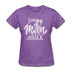 I Love You to the Moon and Back Cute Valentine's Day Women's T-Shirt - purple heather