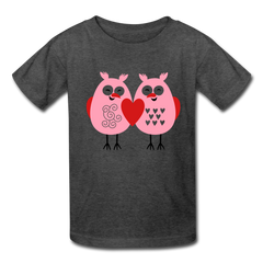 Cute Love Owls Valentine's Day Heart Kids' T-Shirt - heather black