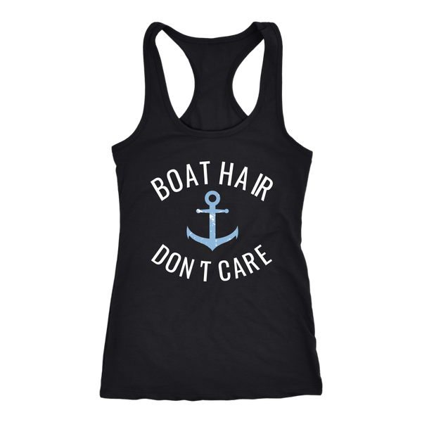 Boat Hair Don't Care Ladies Funny Cruise Sailing T-Shirt - Tees Happen