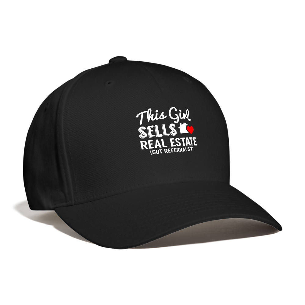 This Girl Sells Real Estate, Got Referrals? Baseball Cap - black