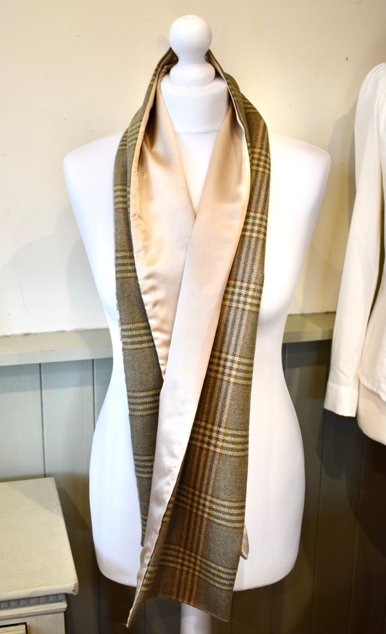 Lovat Green Check tweed Scarf