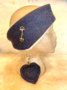 Navy snaffle headband and heart keyring set