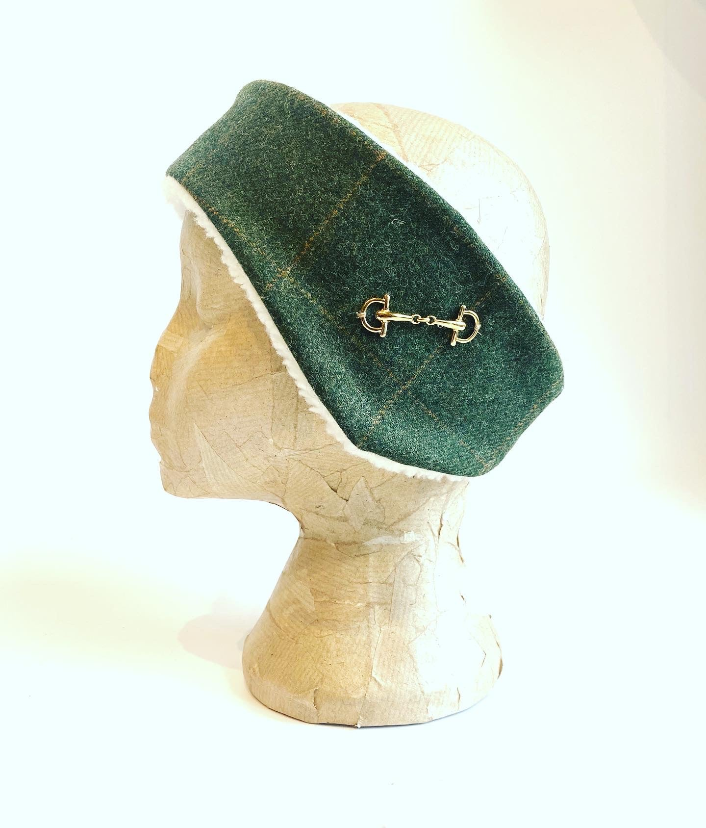 Luxury tweed and snaffle headband - Loden green