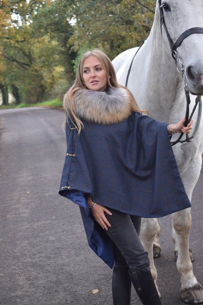 Luxury Tweed & snaffle cape - Midnight
