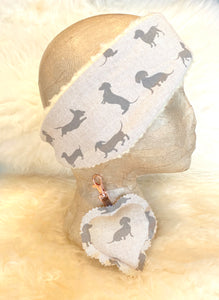 Dachshund linen headband and keyring gift set