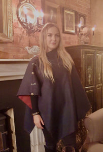 Luxury tweed and snaffle Cape - navy