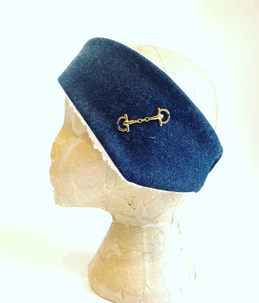 Luxury tweed and snaffle headband - navy