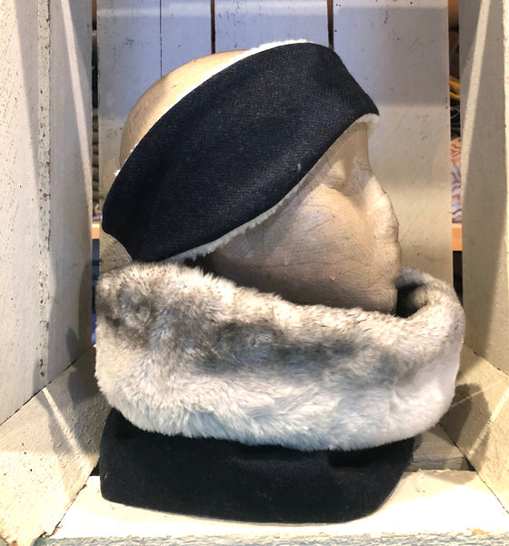 Luxury faux fur and tweed snood