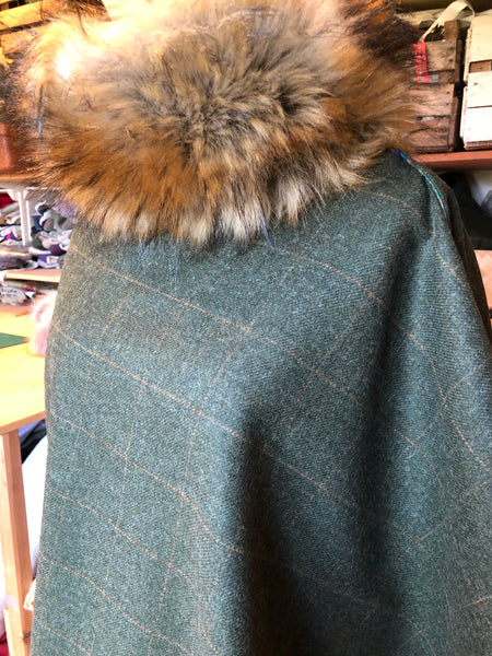 Loden green tweed cape