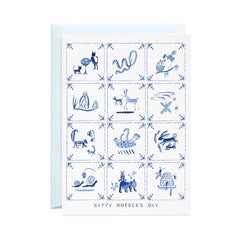 Mother's Day Delft Tiles - Greeting Card