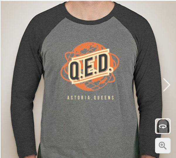 "Baseball T-Shirt - Unisex - Globe or ""Q.E.D."" Design"