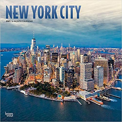 New York City 2021 12 x 12 Inch Monthly Square Wall Calendar with Foil Stamped Cover