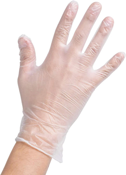 Clear Powder Free Vinyl Disposable Plastic Gloves (5 Pair)