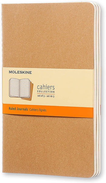 Moleskine Cahier Journal - Soft Cover Ruled/Lined (Set of 3) - Various Colors