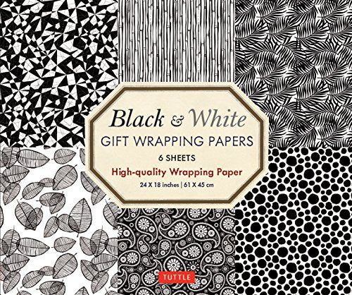 Black & White Gift Wrapping Papers : 6 Sheets of High-quality 24 X 18 Inch Wrapping Paper