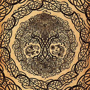 Viking Style Design of Yggdrasil the Tree of Life, as well as the wolves Skoll and Hati, the World Serpent Jomundgard and the dragon Niohoggr, Norse Art and Mythology Saga, by Abysm Internal