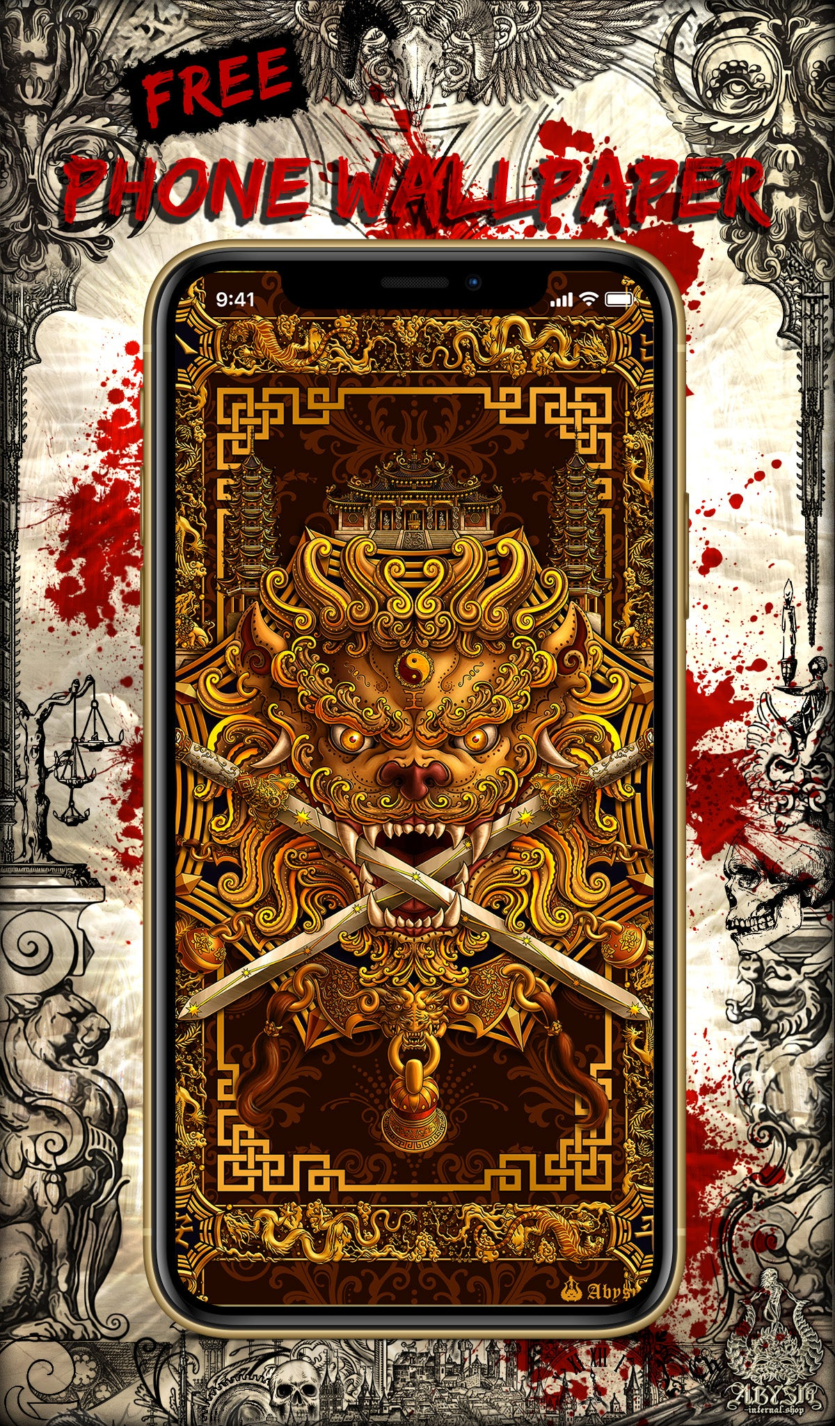 Free Wallpaper for Phone, depicting Gold Chinese Sword Lion from Tainan, Taiwan