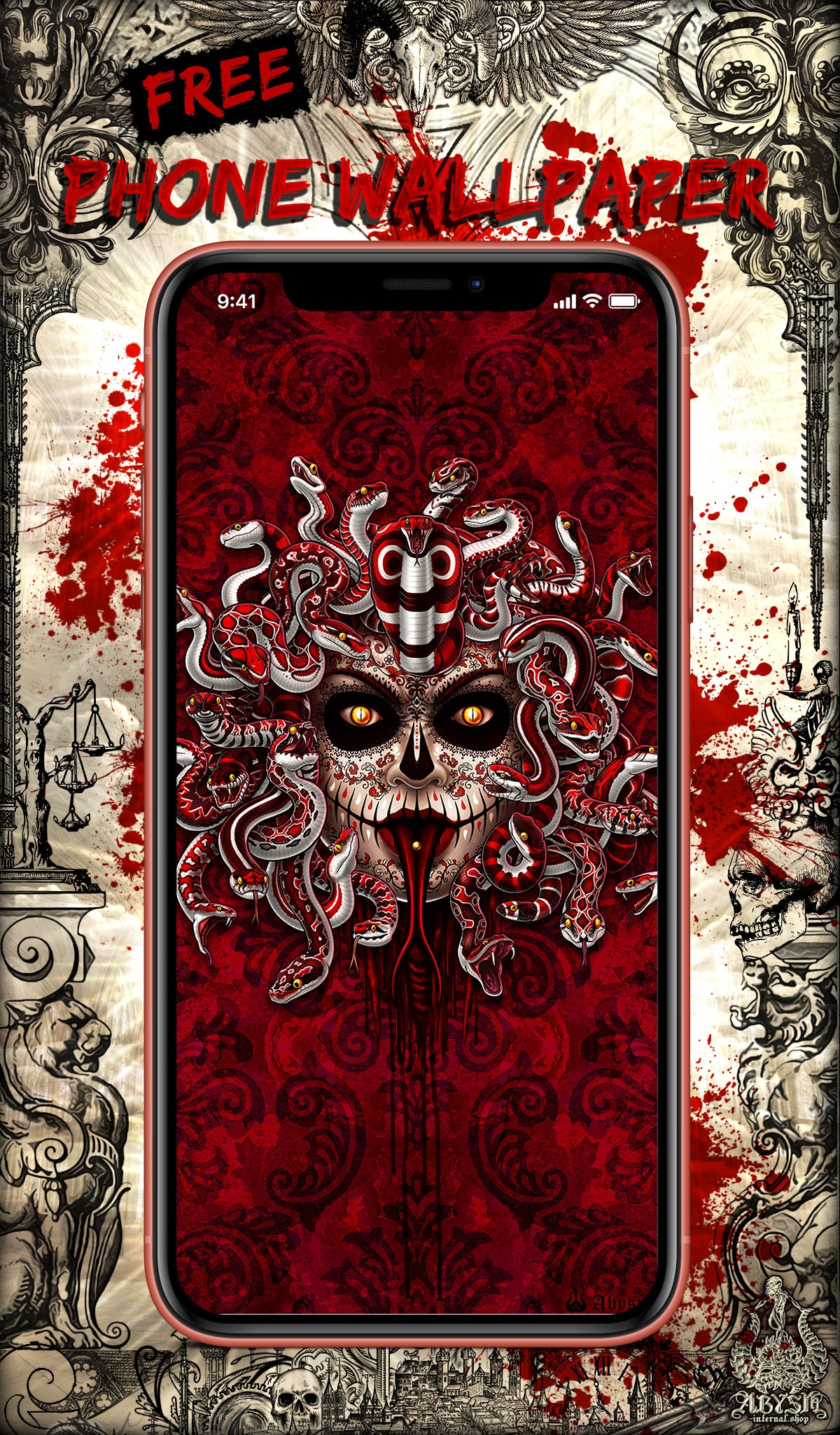 Free Wallpaper for Phone, depicting a Catrina Medusa with a Red and White Snakes, Mexican style Art