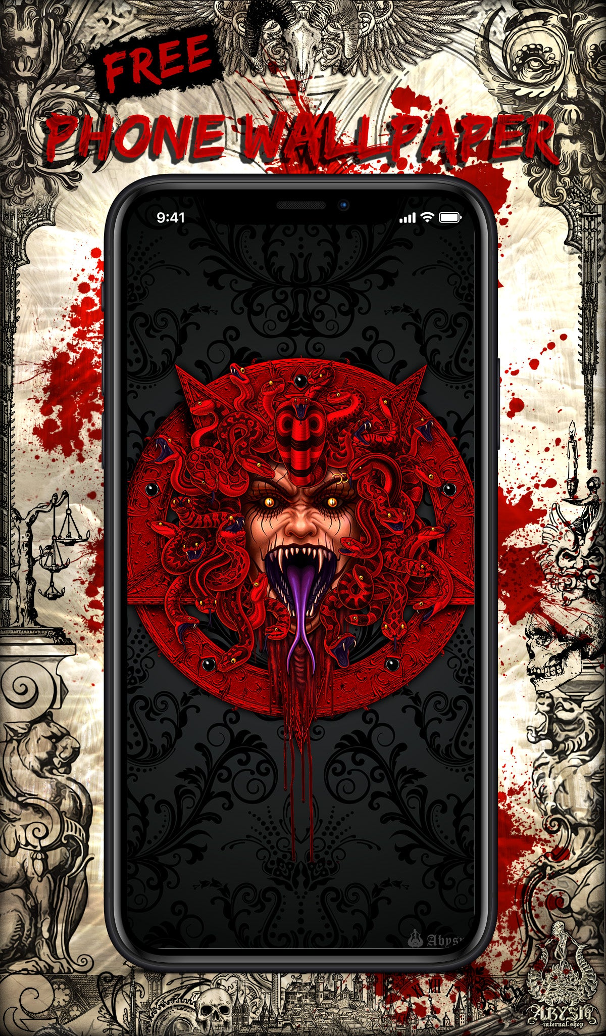 Free Wallpaper for Phone, depicting a Demon Medusa with a Red Pentagram, Satanic Art