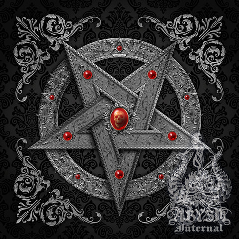 Satanic Silver Pentagram decorated with skull