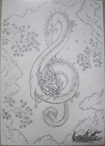 Dragon in treble clef shape, music note, drawing or sketch
