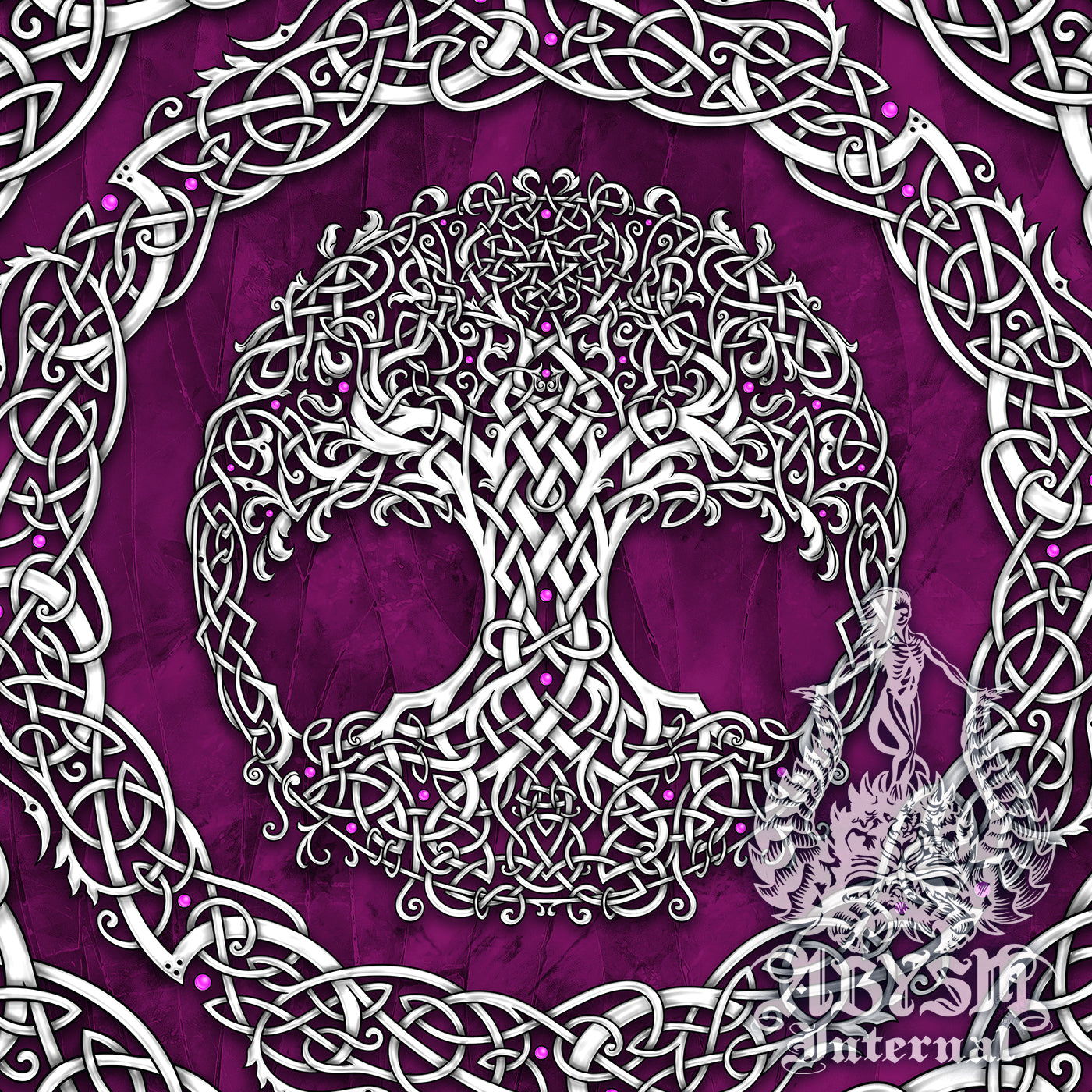 Celtic Tree of Life or Cosmic Tree, Wicca design with pentacle