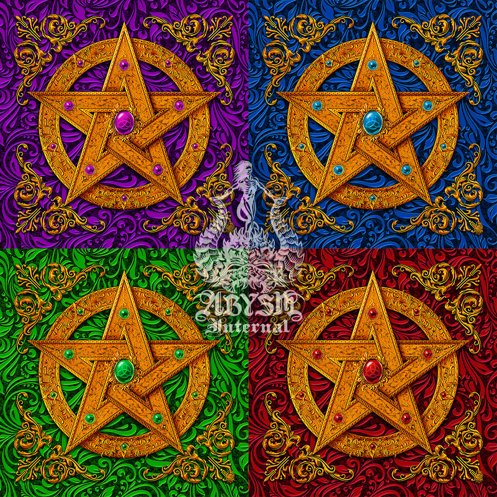 Wicca Pentacle in gold, purple, green, red and blue