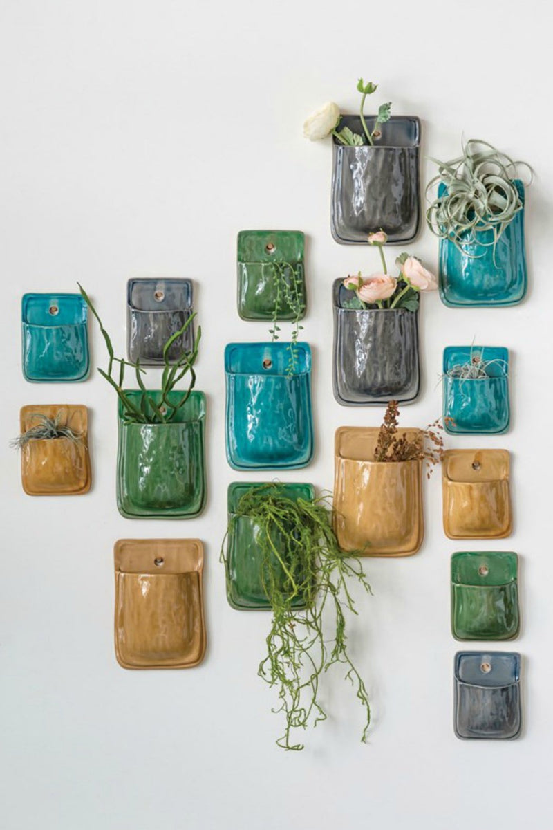 Creative Co-op Jewel Glazed Wall Planter