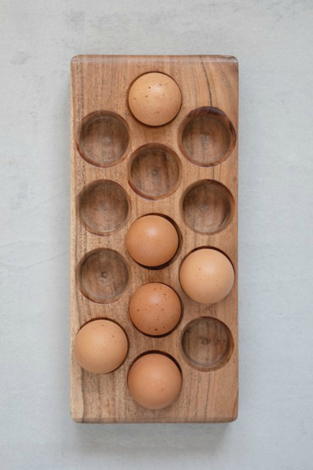 Creative Co-Op Acacia Wood Egg Tray