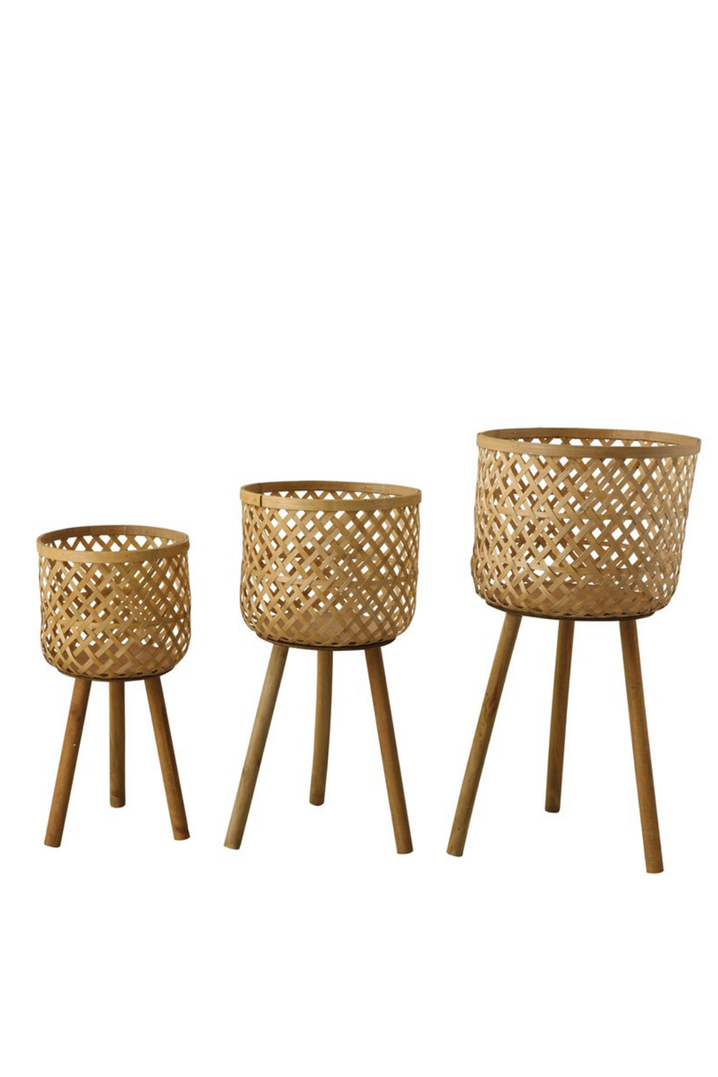 Creative Co-op Woven Bamboo Basket Stand