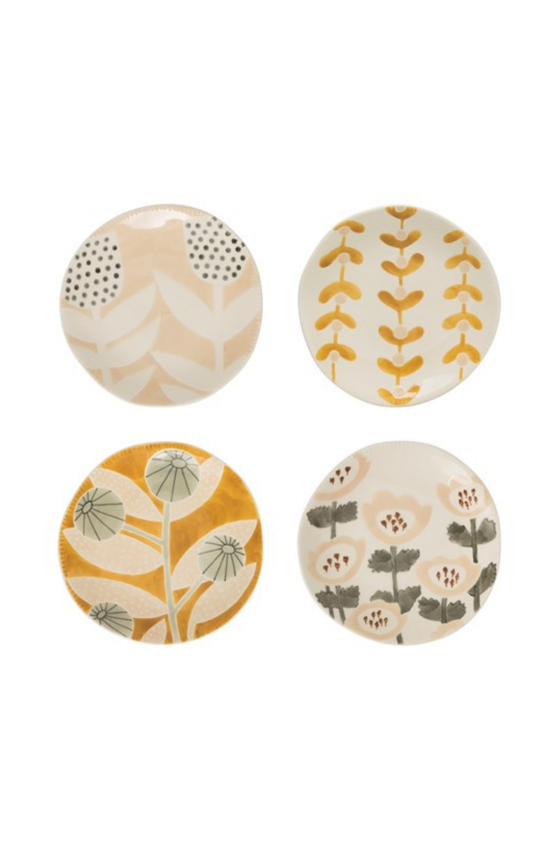 Creative Co-op Floral Painted Stoneware Plate