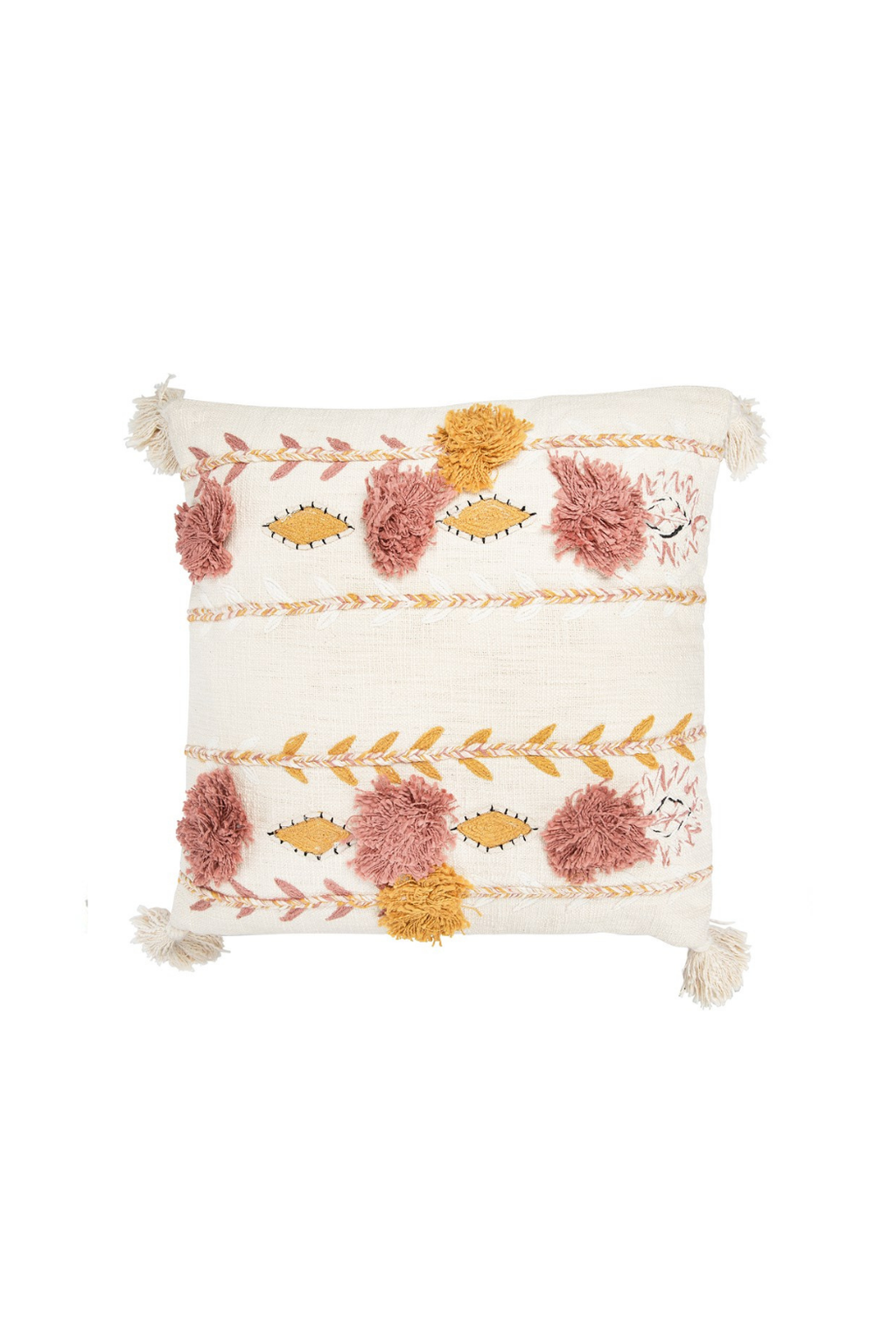 Creative Co-op Cream Bohemian Embroidered Tassel Pillow