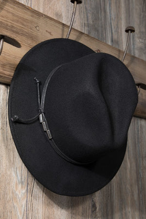 EcoVibe Charlotte Wool Felt Panama Hat in Black