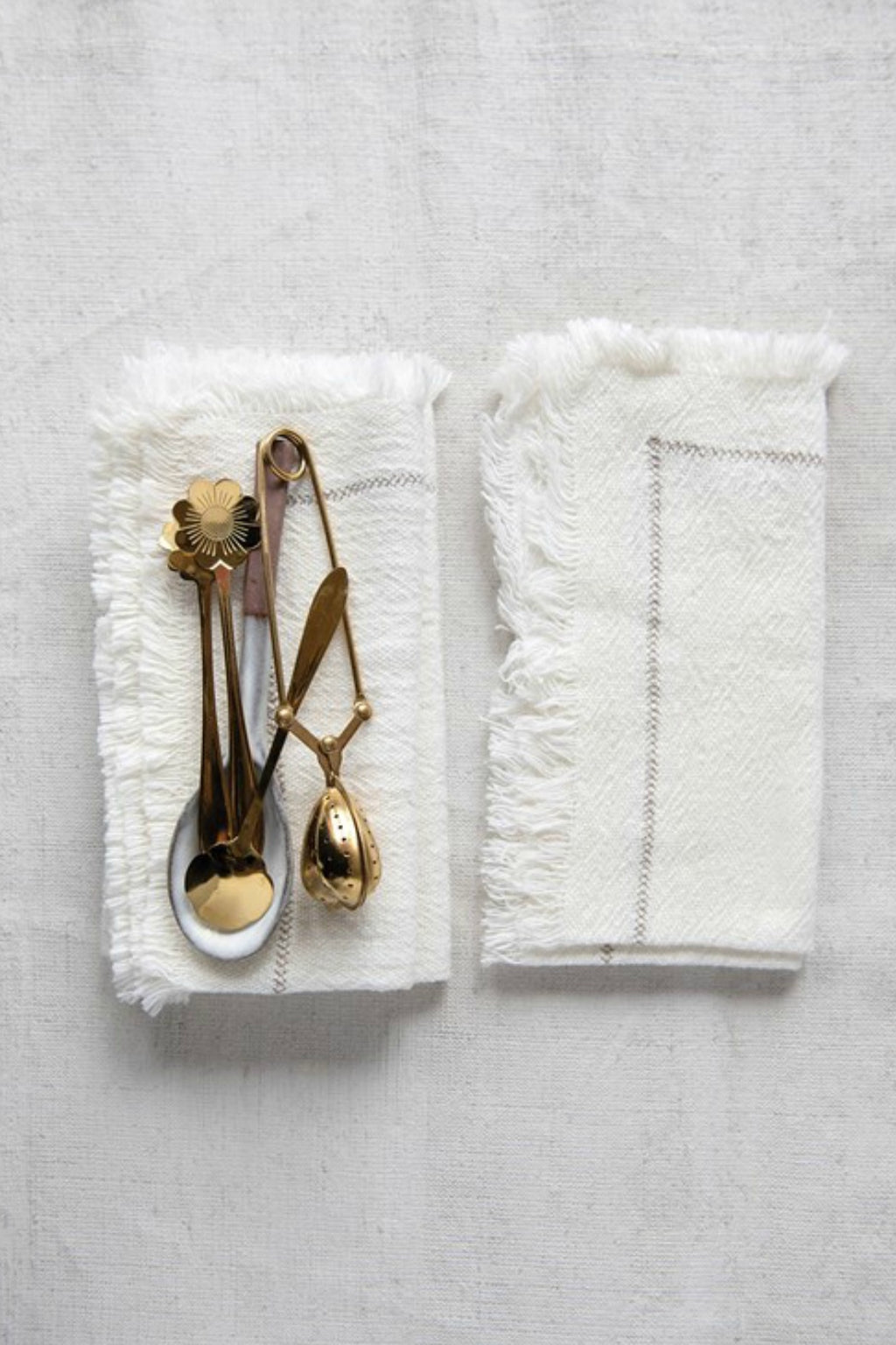 Creative Co-Op Fringed Woven Cotton Napkins