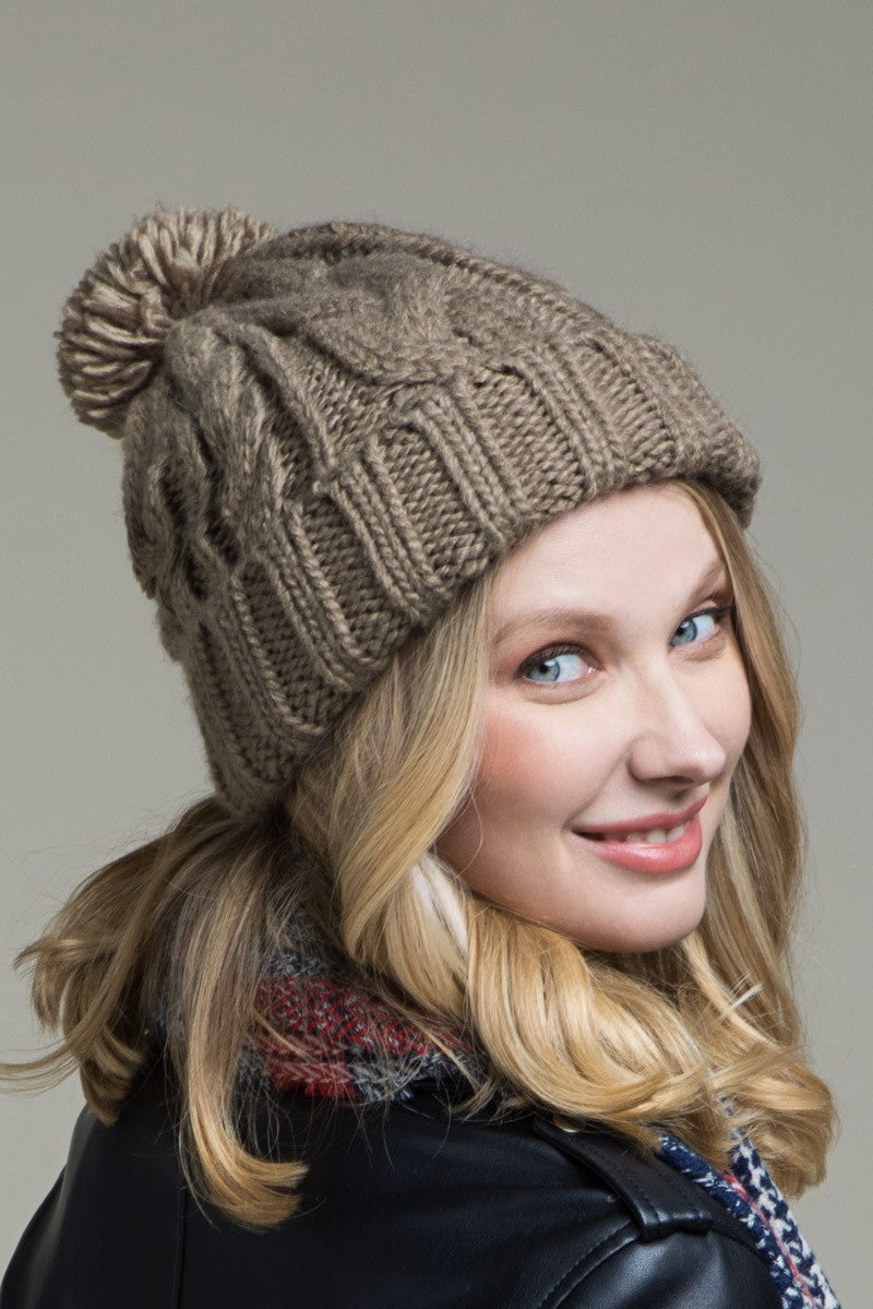 EcoVibe Cable Knit Beanie in Taupe