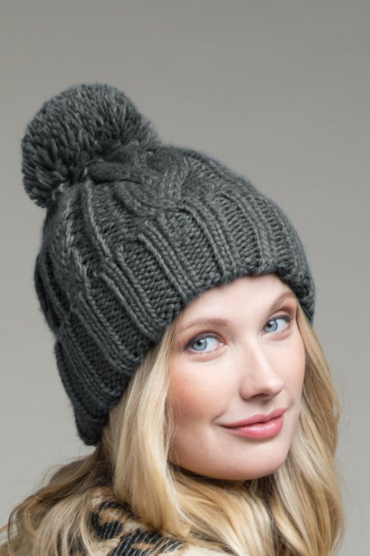 EcoVibe Cable Knit Beanie in Grey