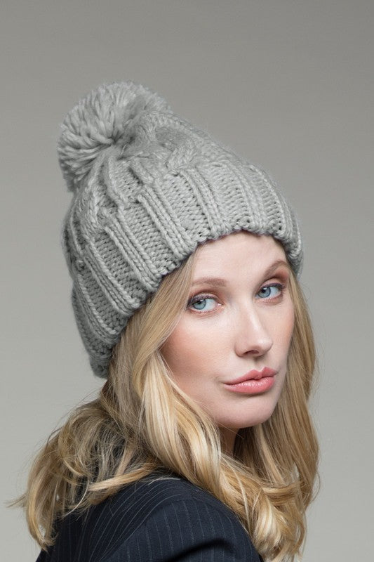 EcoVibe Cable Knit Beanie in Light Grey