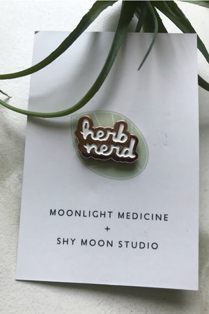 Moonlight Medicine Herb Nerd Lapel Pin