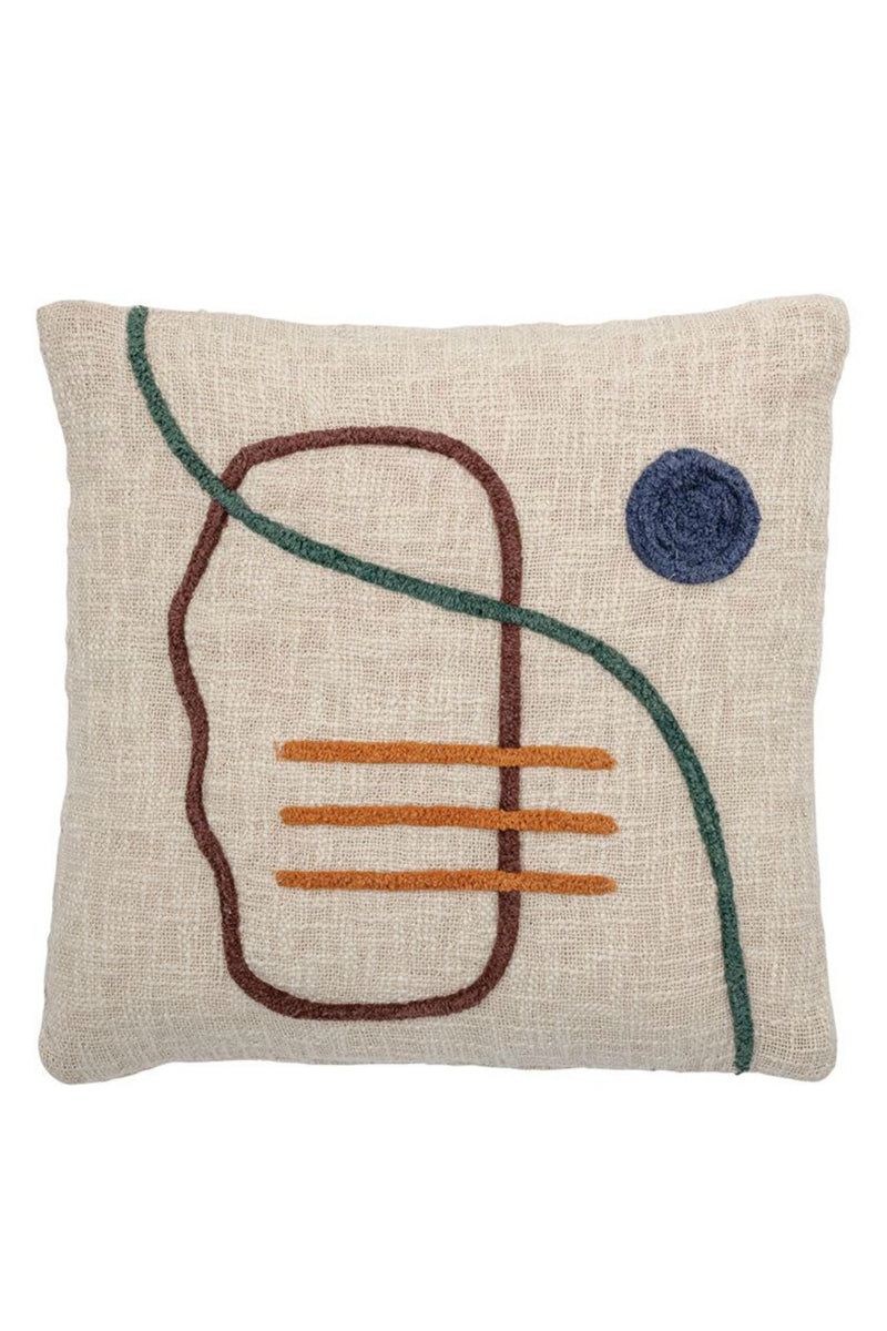Bloomingville Abstract Embroidered Cotton Pillow