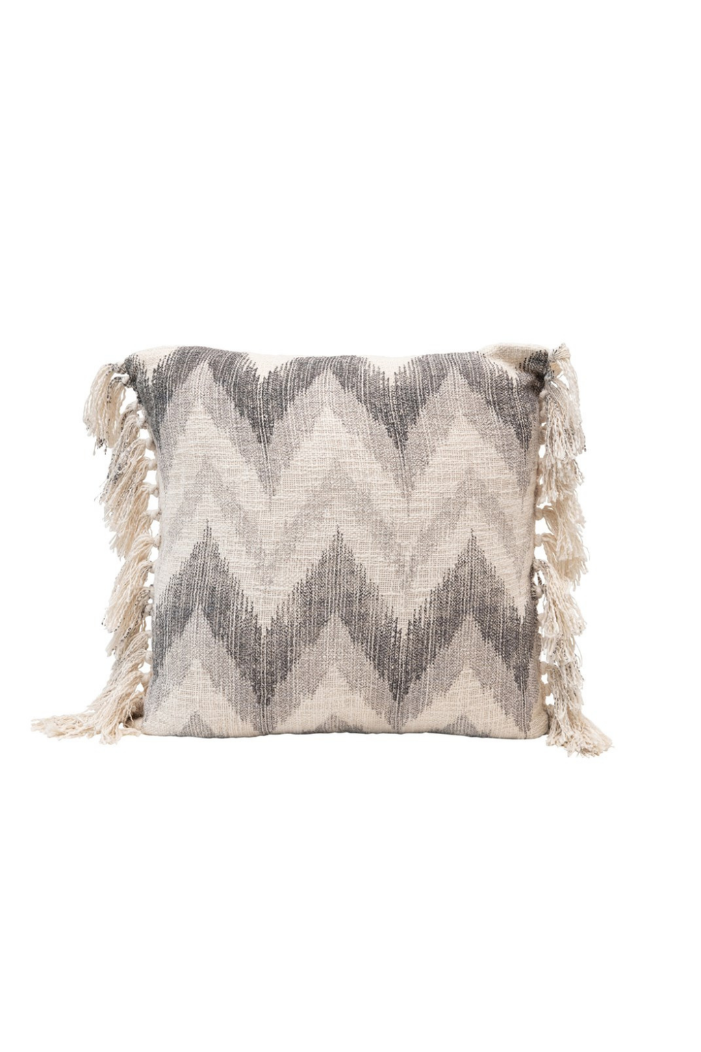 Creative Co-op Chevron Stonewashed Tassel Pillow DF4558