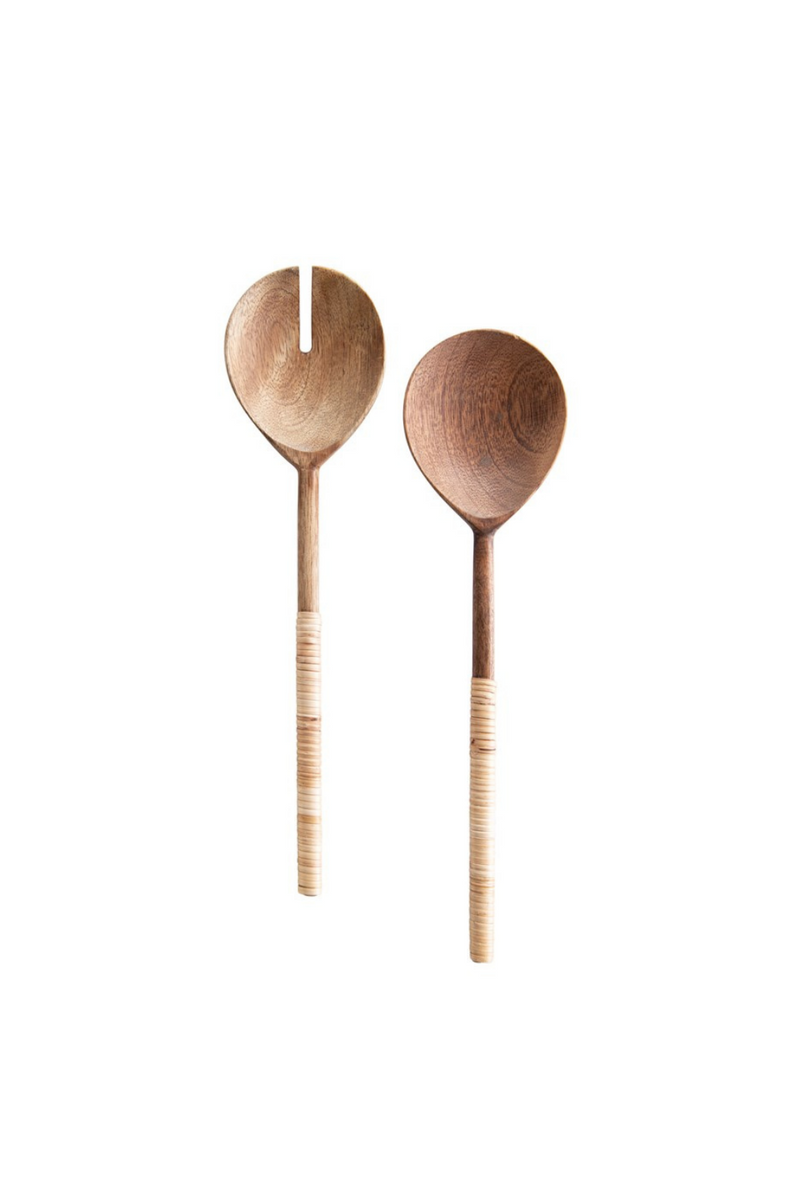 Creative Co-op Wood Salad Servers with Bamboo Wrapped Handles DF3545