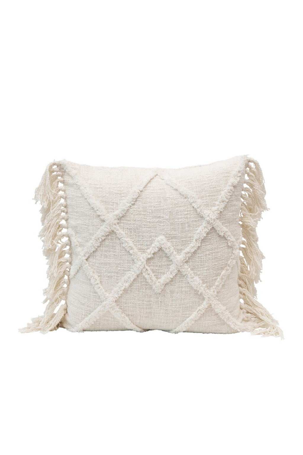 Creative Co-op Cream Tufted Diamond Cotton Pillow with Tassels DF4564