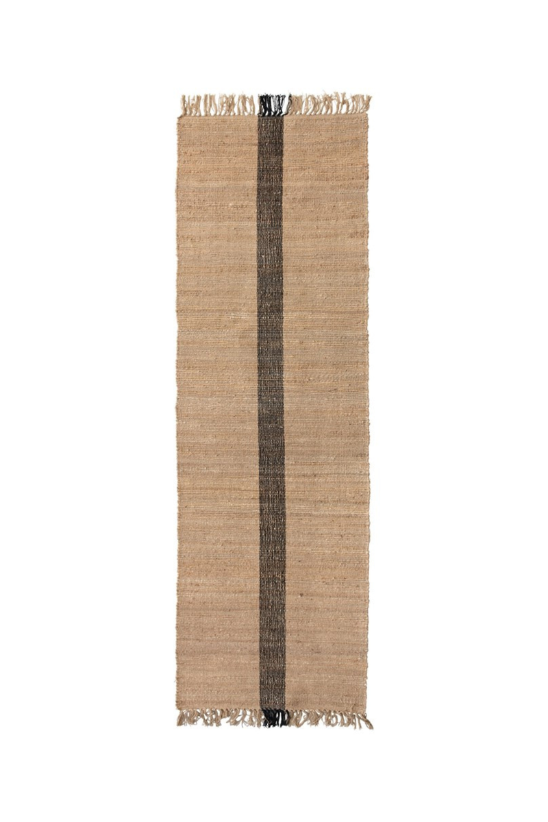 Creative Co-op Black Woven Stripe Jute Runner DF4578
