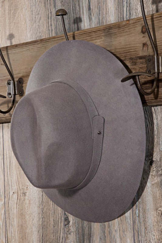 EcoVibe Austin Wool Panama Hat in Dark Grey