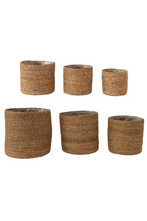 Creative Co-op Lined Seagrass Cylinder Baskets