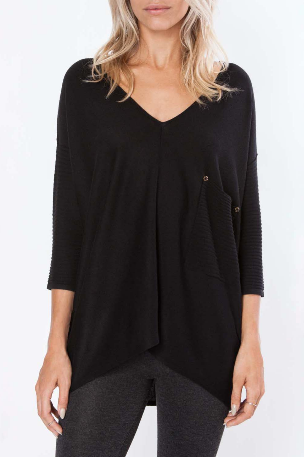 ECOVIBE Ashlyn Ribbed Sweater in Black