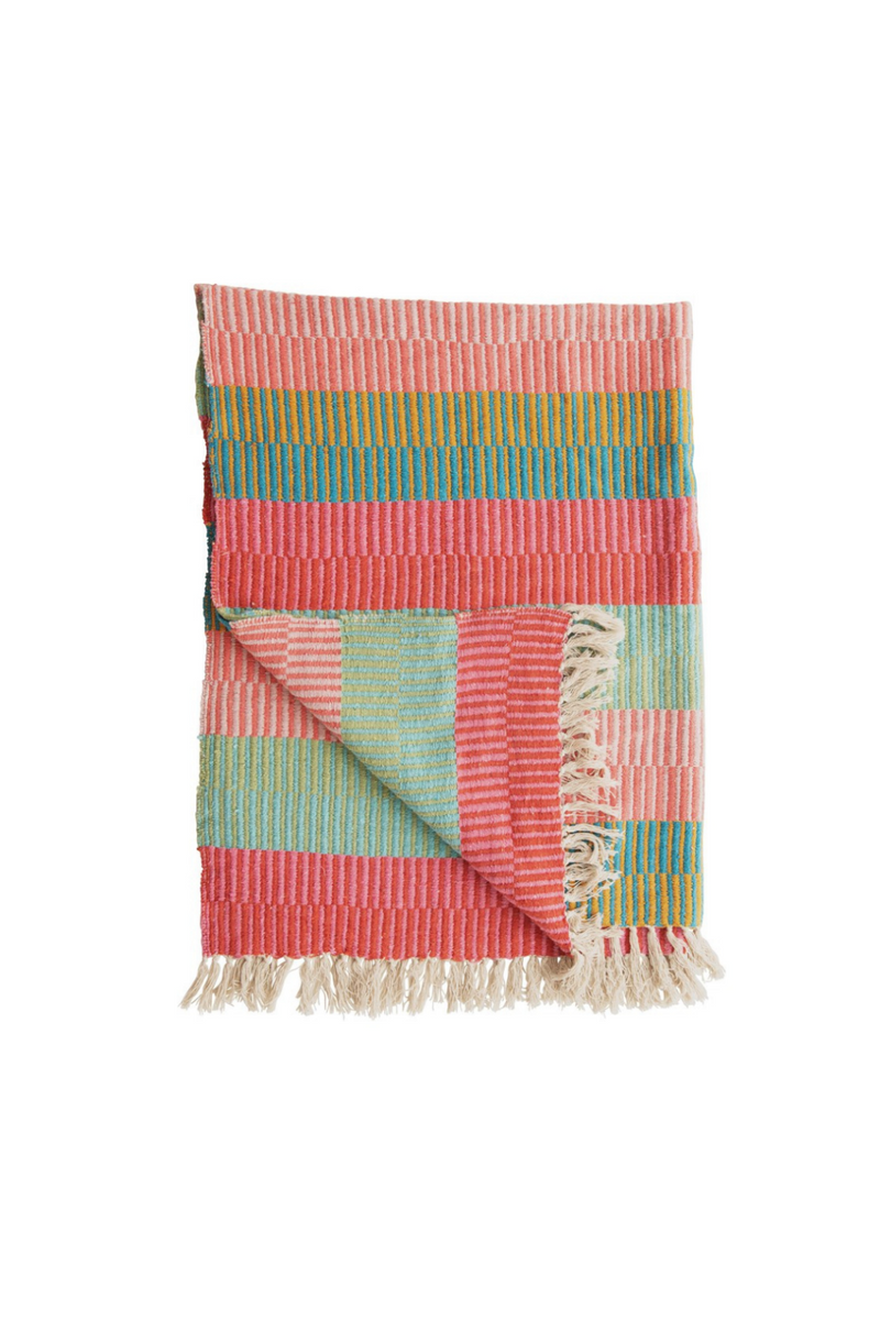 Creative Co-op Pink Multi Recycled Cotton Striped Throw DF4532