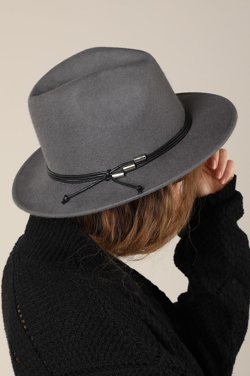 EcoVibe Charlotte Wool Felt Panama Hat in Grey