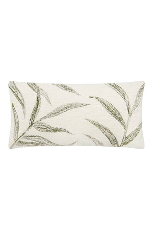 Bloomingville Embroidered Palm Frond Lumbar Pillow