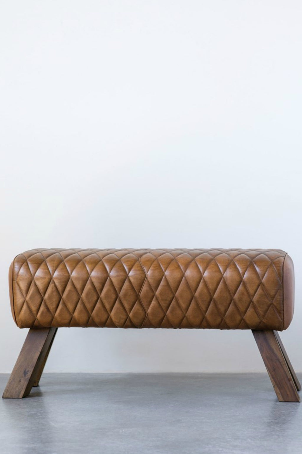 Benson Stitched Leather & Wood Bench